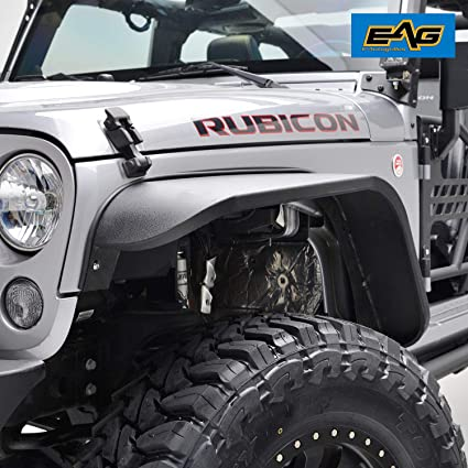 EAG Front Fender Flares Steel 2PCS Fit for 07-18 Jeep Wrangler JK