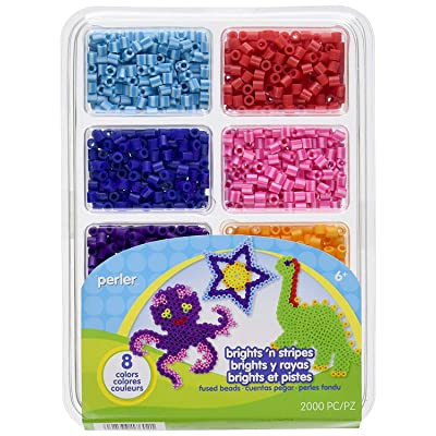 Perler Beads Bright And Stripes Assorted Fuse Beads Tray For Kids Crafts, 2000 pcs: Arts, Crafts & Sewing