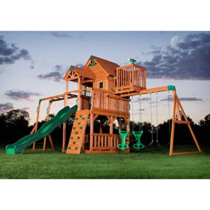 A Real Showpiece For Your Backyard, This Beautiful, Sturdy Cedar Play Set  Features A Rock Climbing Wall, A 2 Person Glider, Swings, Slides, ...