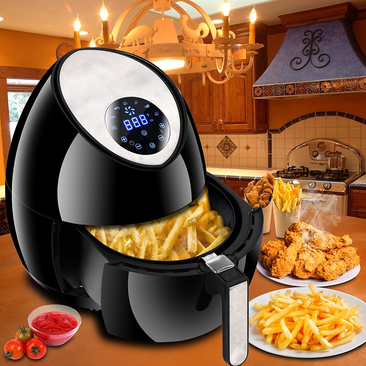 ZENY Electric Air Fryer w/Touch Screen Control 1500W 3.7QT, 7 Presets, w/Recipes & CookBook