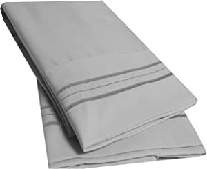 Sweet Home Collection 2 Pack Pillow Case Set 1800 Series Fine Double Brushed Microfiber Triple Marrow Stitch Pillowcases, Standard, Silver