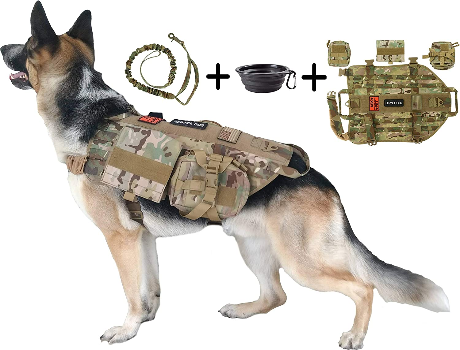 B07CSGWGN6 Tri Cloud Sports Dog Tactical Harness – 1000D Nylon Molle Vest Includes Leash | 3 Pouches | 3 Patches | Collapsible BPA Free Bowl 81%2Bj-gQpxqL