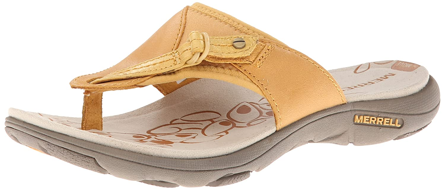 0e5392f6c194 Merrell Women s Grace Lavish Flip Spruce Yellow Leather Sandals 7 B(M) US   Amazon.co.uk  Shoes   Bags