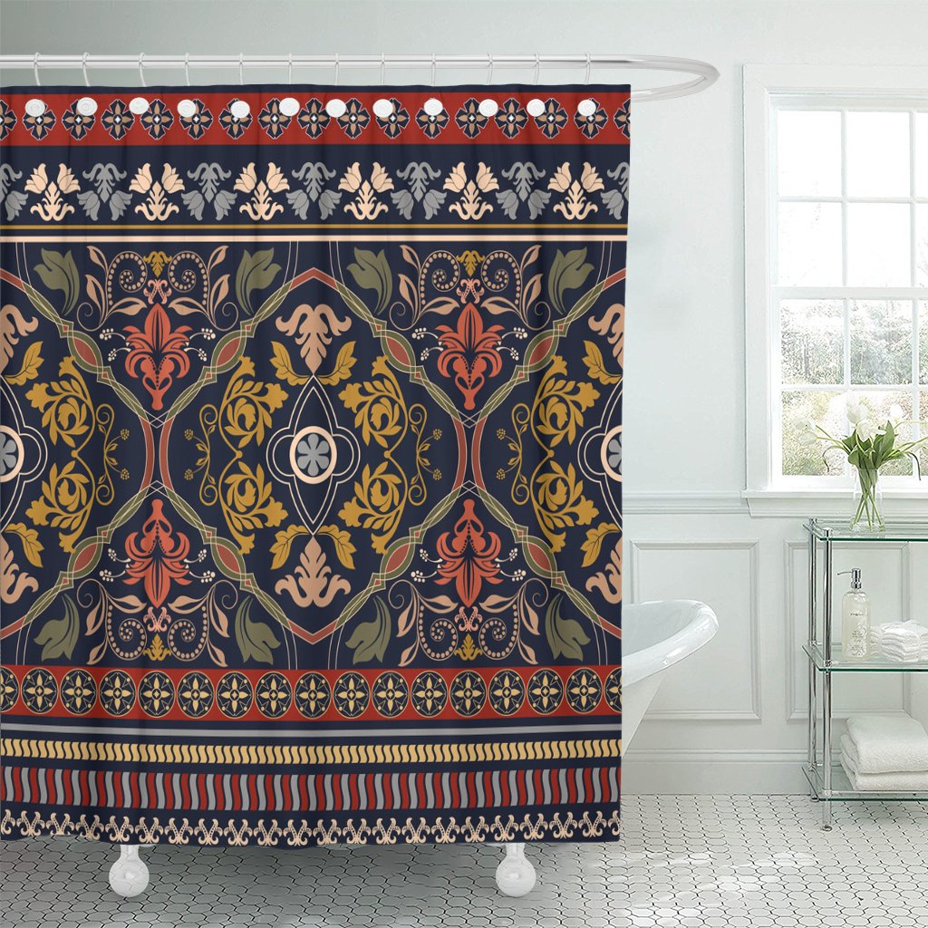 Emvency Shower Curtain Border Paisley Floral Vintage Design for Ribbon Boho Persian Waterproof Polyester Fabric 72 x 78 inches Set with Hooks