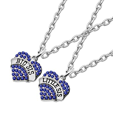 Sister pendant necklace necklace big little sister crystal heart sister pendant necklace necklace big little sister crystal heart pendant christmas gifts for women girls blue amazon jewellery aloadofball Image collections