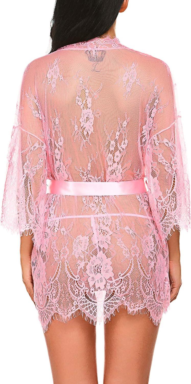 Avidlove Women's Lace Kimono Robe Babydoll Lingerie Mesh Nightgown S-4XL: Clothing