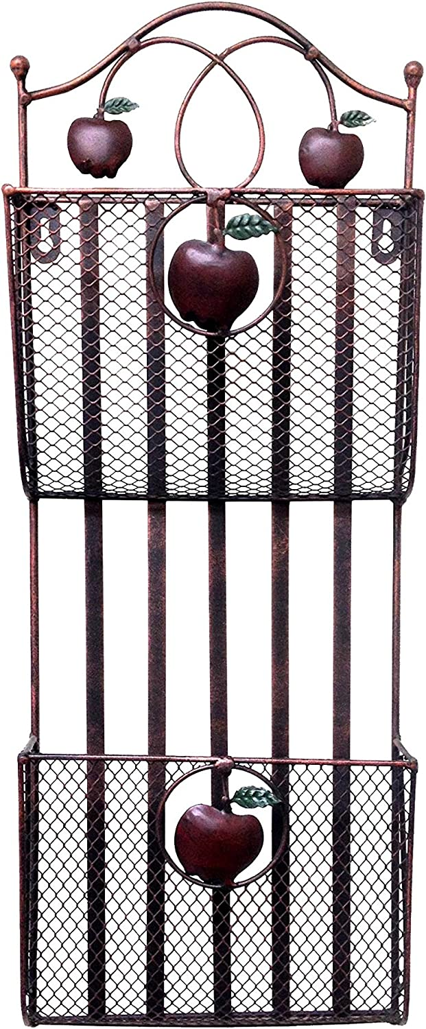 Designstyles 2 Tier with 2 Pockets Metal, Wall File, Mail, Paper Holder, with Nice Apple Antique Design