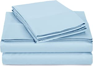 AmazonBasics 400 Thread Count Sheet Set, Twin, Smoke Blue