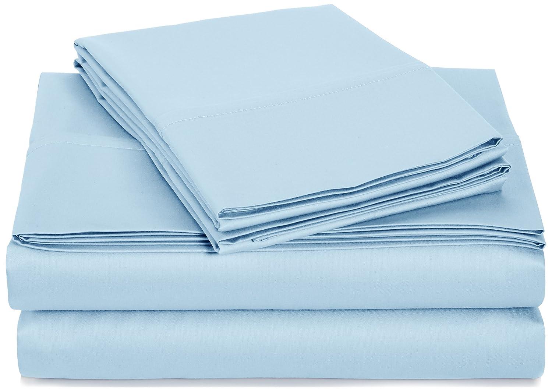AmazonBasics 400 Thread Count Sheet Set, 100% Cotton, Sateen Finish - Queen, Smoke Blue