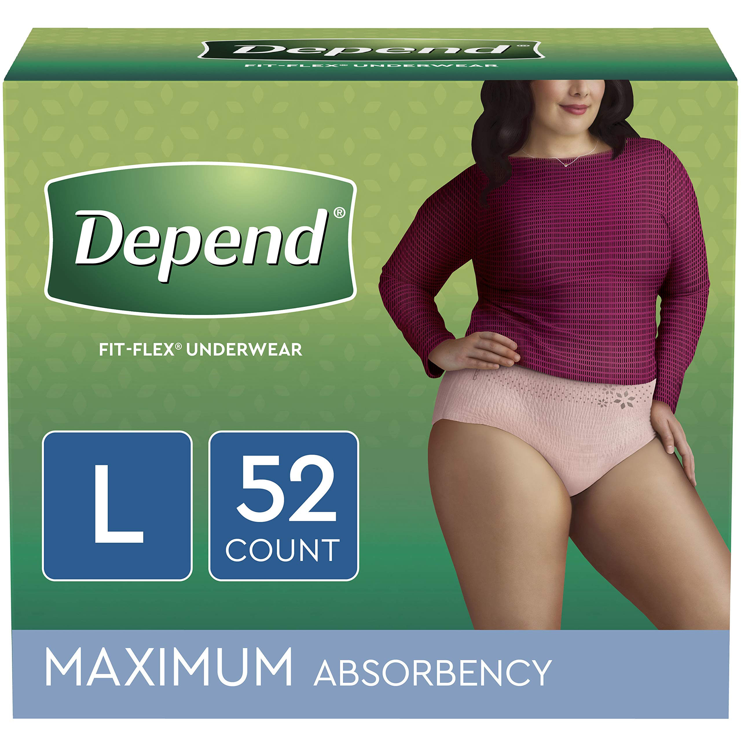 Depend FIT-FLEX Incontinence Underwear for Women, Disposable, Maximum Absorbency, Blush, Large (52 Count)(Packaging May Vary) by Depend