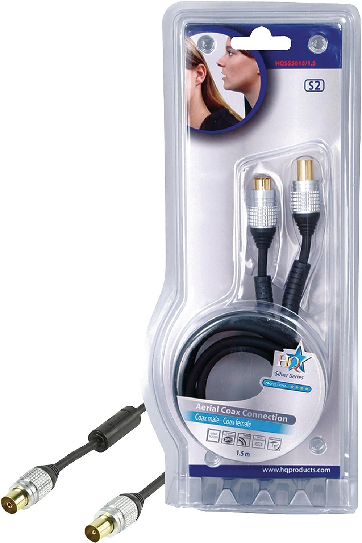 HQ HQSS5015/1.5 - Cable coaxial de antena (1.5 metros), negro