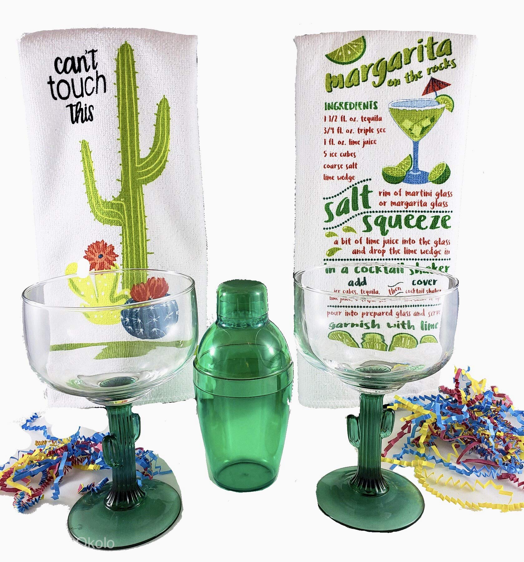 Cinco de Mayo Cactus Margarita Glass And Cocktail Shaker Gift Set Includes Set of 2 Cactus Margarita Glasses, Green Cocktail Shaker Kit, 2 Margarita Recipe Kitchen Towels With Additional Bonus Recipe by 365 Party Lab-Cinco De Mayo