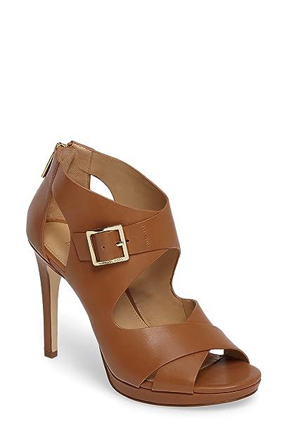 d92efae6f96 Michael Kors Women s Shoes Sandals Heels Kimber Platform Leather Acorn  Beige New