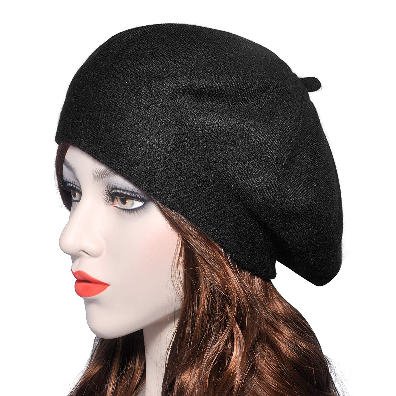 Lightning Black Womens Reversible Cashmere Beret Hat Double Layers French Beret