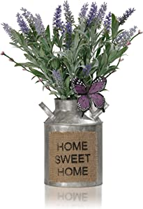 Valery Madelyn Artificial Lavender Flower in Vase,Flower Bouquet with Milk Can Jug,Fake Flower Arrangements in Bucket for Table Centerpieces Decoration