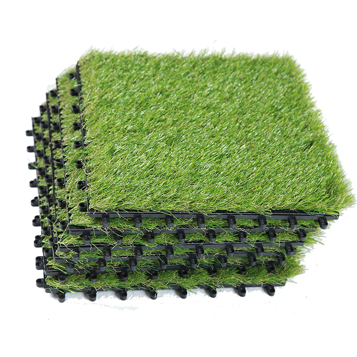 EcoMatrix Artificial Grass Tiles Interlocking Fake Grass Deck Tile Synthetic Grass Turf Carpet Mat for Patio Balcony Garden Flooring Decor 1'x1' (6 Packs)