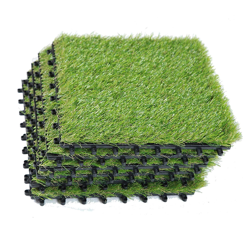 EcoMatrix Artificial Grass Tiles Interlocking Fake Grass Deck Tile Synthetic Grass Turf Green Lawn Carpet Indoor Floor Mat for Patio Balcony Garden Flooring Decor 1'x1' (6 Packs)