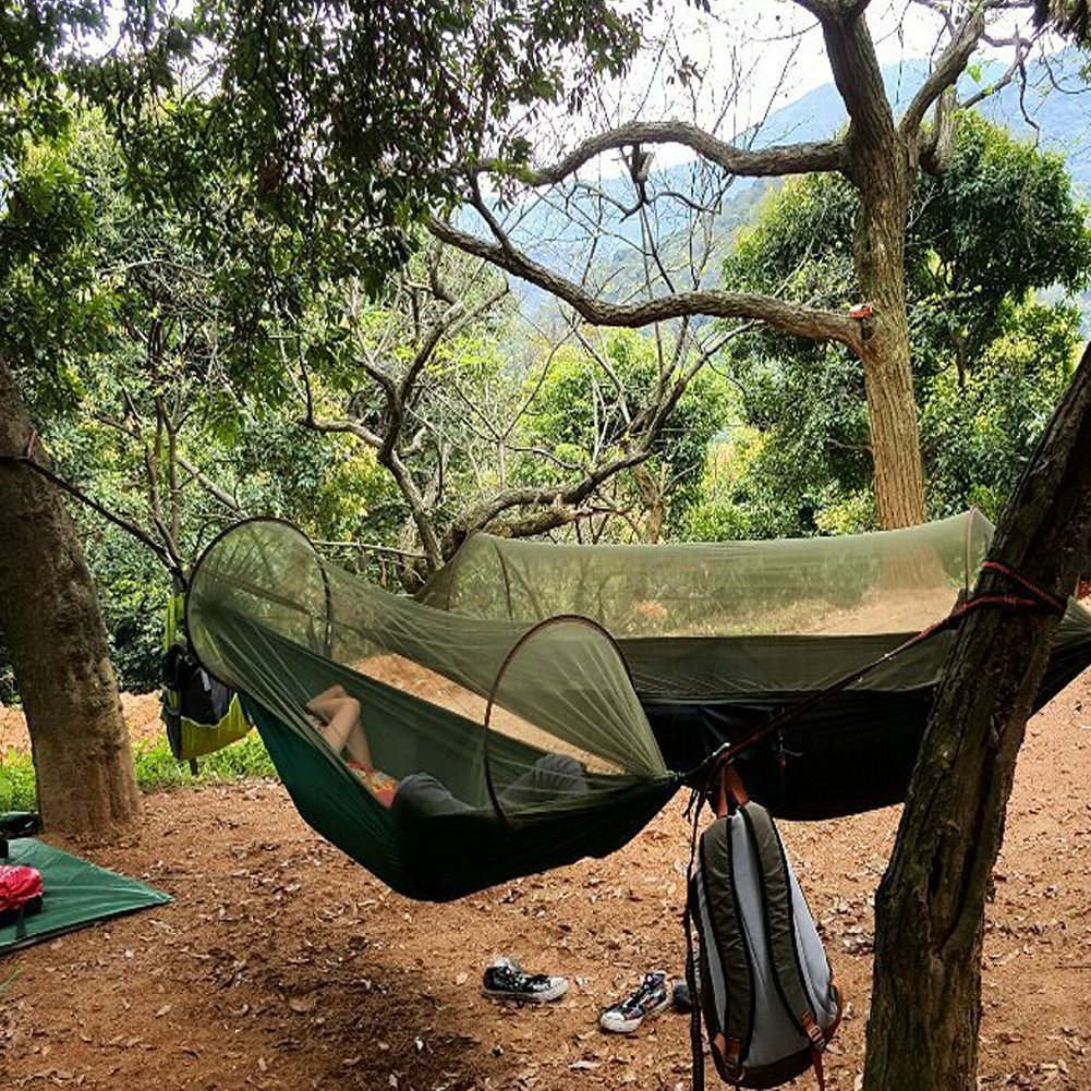 Amazon.com G4Free Portable u0026 Foldable C&ing Hammock Mosquito Net Hammock Tent Capacity 400 lbs Outdoor u0026 Indoor Backyard Hiking Backingpacking Tree ... & Amazon.com: G4Free Portable u0026 Foldable Camping Hammock Mosquito ...