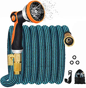 JOOIKOS Expandable Garden Hose 50ft - Flexible Water Hose with 10 Functions Spray Nozzle and Durable Triple Latex Core with 3/4