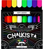 Liquid Chalk Markers for Chalkboard - Wet Erase Washable Paint Marker Pens with Neon Erasable Colored Chalk and Reversible Tip - Use on Window Blackboard White Board Labels Glass Bistro by Chalkista