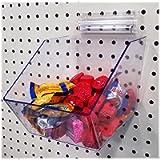 Clear Pegboard Acrylic Bins, Small Bin for Peg Wall - 6' L x 5.5' H x 7.5' D - 10 Pack