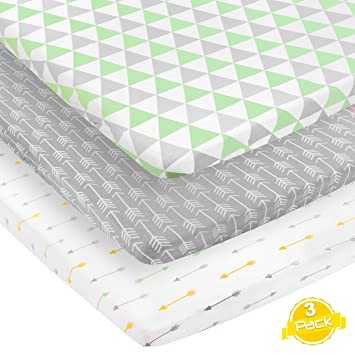 Pack and Play Sheets 3 Pack 100/% Super Soft Jersey Knit Cotton Playard Mattress Sheets 24 x 38 x 5 Pack n Play Sheets Portable Playpen Sheet Fitted Play Yard Mini Crib Sheets for Boy /& Girl
