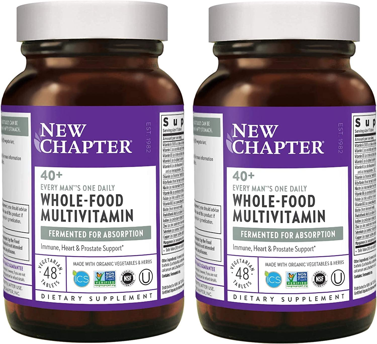 New Chapter 40+ Every Man's One Daily Multi Whole-Food, Fermented, Multivitamin from Organic Vegetables, Herbs with Nutrients for Prostate, Heart and Vision Support (48 Vegetarian Tablets) Pack of 2