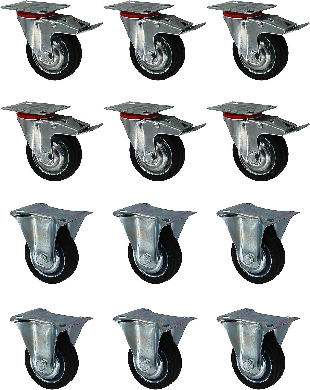 6 als Lenkrolle mit Bremse Set 75 mm Vollgummirolle Transportrolle 6 Bockrollen