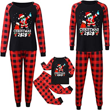 Christmas Family Pajamas Matching Sets Reindeer Letter Print Xmas 2PCs Soft Outfit Sleepwear