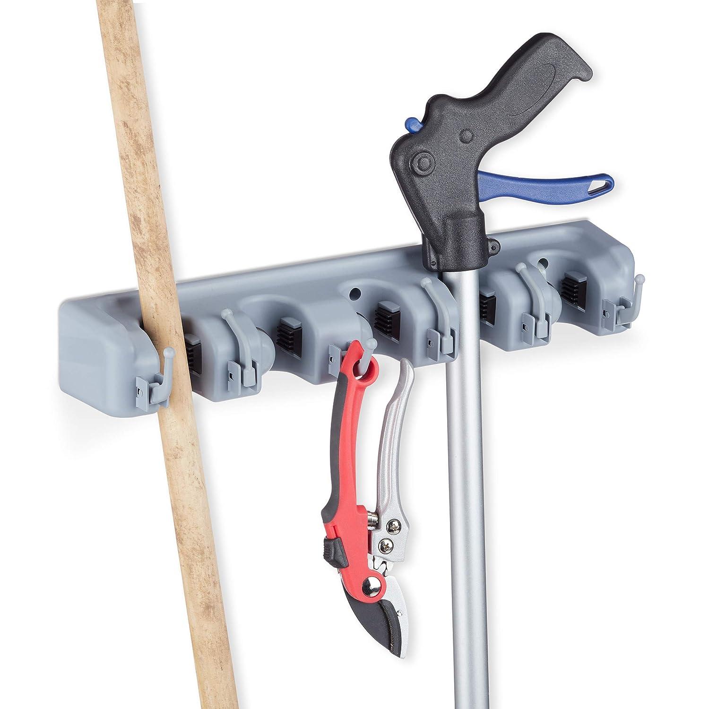 Relaxdays Wall Bracket 5 Clamp Holders 6 Folding Hooks Universal Tool Holder for Wall 40 cm Polypropylene Grey