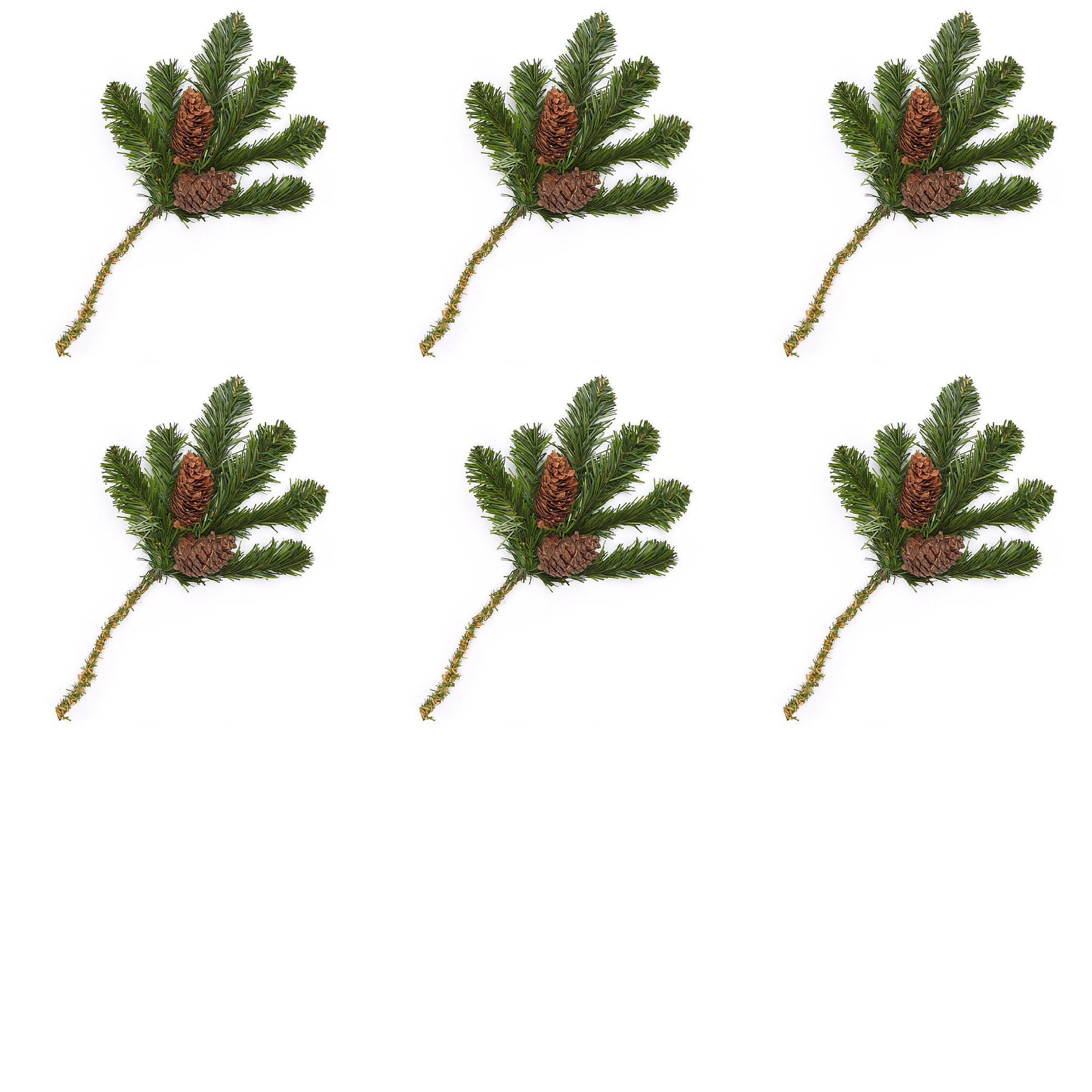 Factory Direct Craft Artificial Pine Picks with Natural Pinecones for Holiday Decorating - 6 Picks
