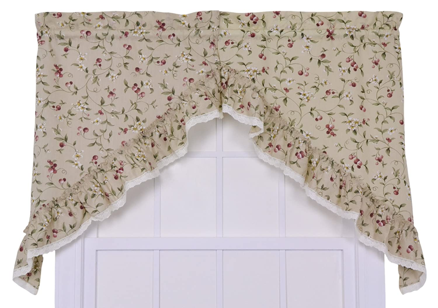 Ellis Curtain Kitchen Collection Cherries 58 by 24-Inch Ruffled Tailored Tier Curtains, Natural 730462535016