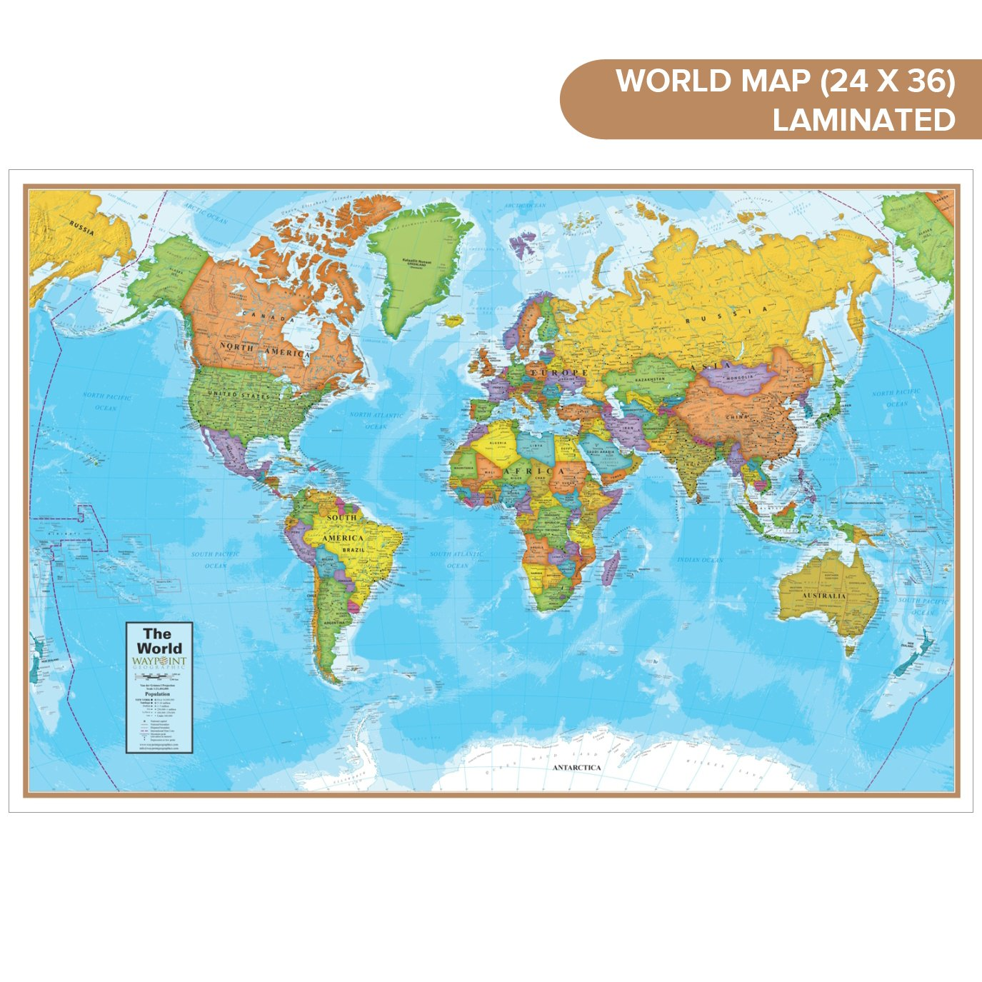 Waypoint Geographic Blue Ocean World Wall Map (24'' x 36'') - Current up-to-Date - 1000's of Named Locations & Points of Interest - Rolled & Laminated - Display in Office, Classroom or Home