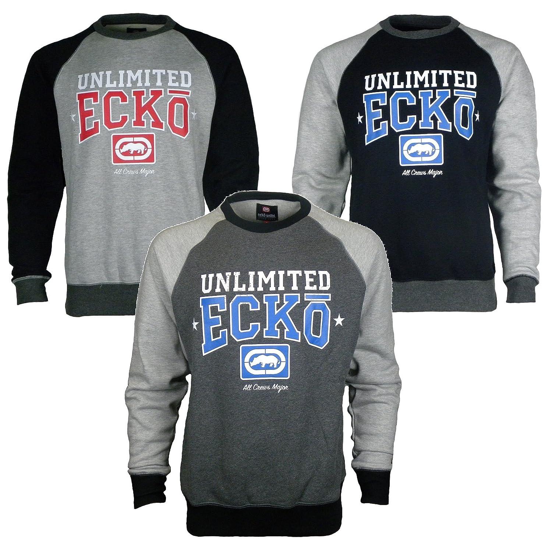 Mens Designer ECKO Jumper Crew Neck Sweatshirt Top With Ecko Logo At Front Fleece Long Sleeve Tops