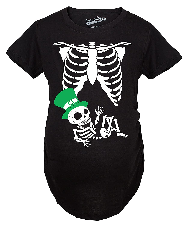 Maternity St. Patrick's Day Baby Skeleton Funny Pregnancy Announcement T shirt Crazy Dog Tshirts 017StPatSkeletonMAT
