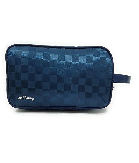 Bolsas de aseo Neceser para Hombre impermeable con dibujo a cuadros con variantes (Azul)