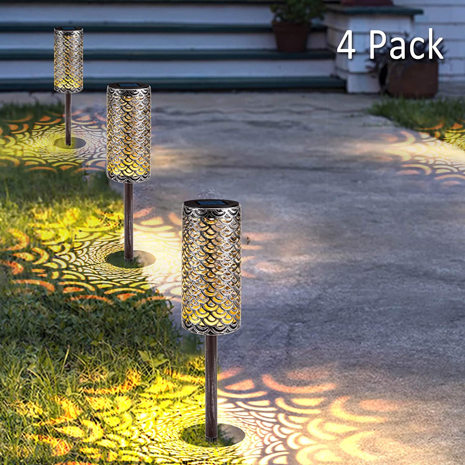 Solar Path Lights Metal Lanterns Pathway Auto On/Off Bright Warm White LED Outdoor Waterproof Landscape Lighting for ?Patio, Garden, Yard, Walkway (4 Pack)
