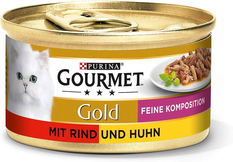 PURINA GOURMET Gold Feine Komposition Katzenfutter nass, mit Rind und Huhn, 12er Pack (12 x 85g): Amazon.de: Haustier