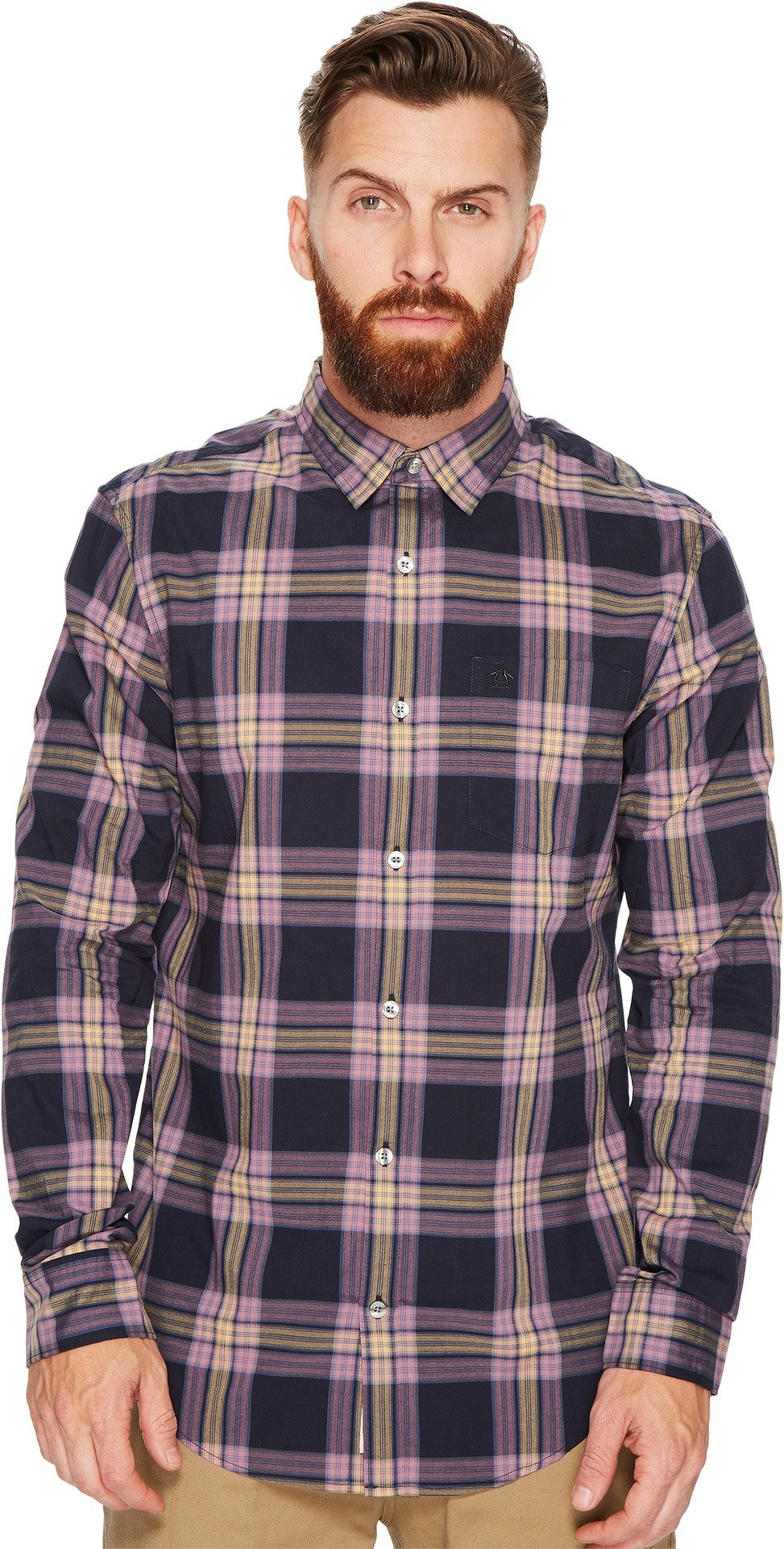 Original Penguin Men's Long Sleeve P55 Plaid Stretch Shirt, Dark Sapphire, Medium by Original Penguin (Image #1)