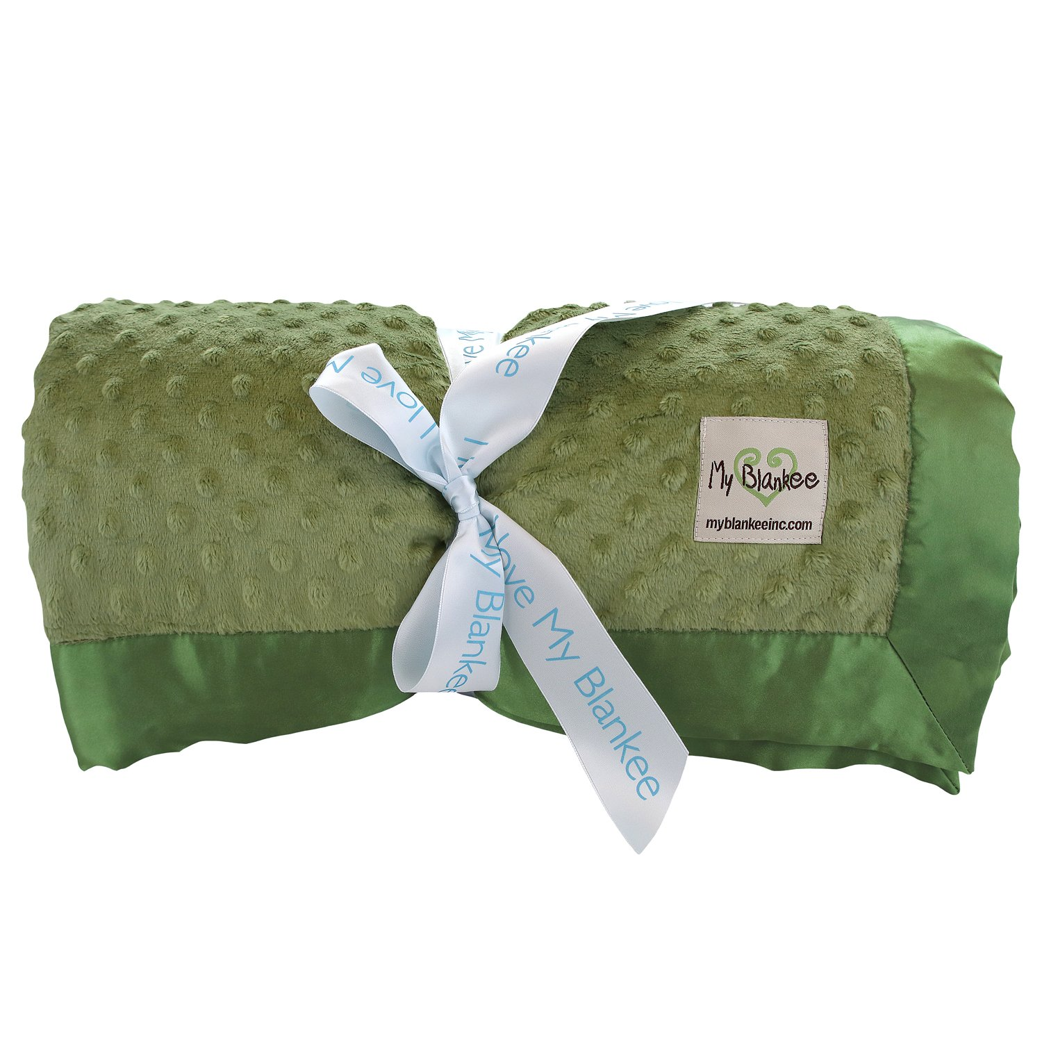 My Blankee Minky Dot Super Queen Blanket with Flat Satin Border, Olive Green, 96'' X 94''