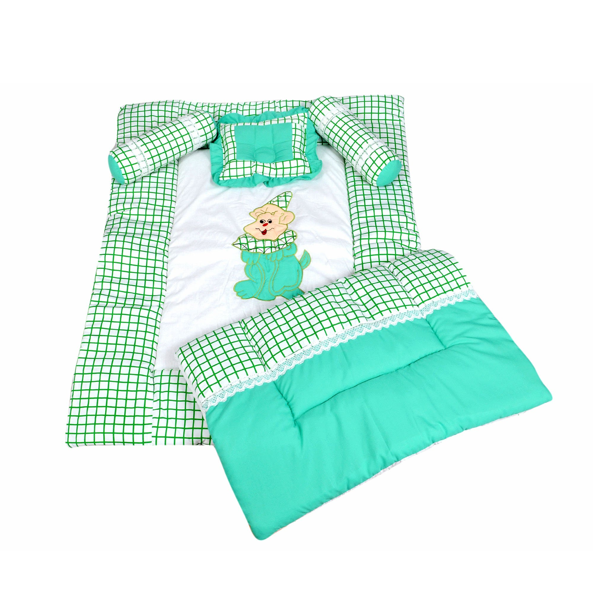 Maple Krafts Pure Cotton Baby Bedding set upto 24 months Green with Pillow