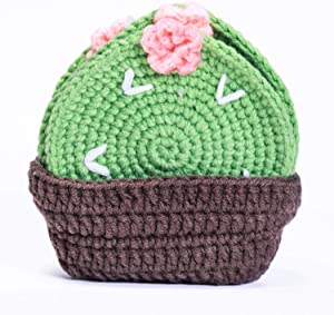 DMATSTORECoasters for Drinks Set of 6 Pieces Cotton Coasters with Holder, Handmade Braided Coasters for Drinks, 3.93 Inch, Suitable, Crocheted Coasters for Kids Drinks (Cactus)