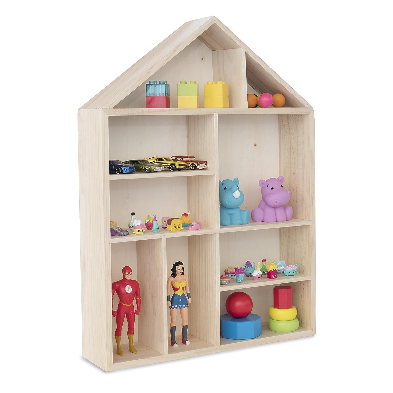 Wallniture House Shape Wooden Shadow Cubby Box Storage Knick Knack