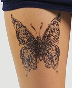 7d5688df3 Large Gothic Butterfly Temporary Tattoo - Stylish Black Ink Design ...