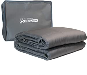 Bed Buddy Weighted Blanket 17 lbs - Weighted Blanket Adult Sized - Heavy Blanket with Weighted Glass Beads, Grey, 17 pounds, for Full, Queen Size, Twin Size