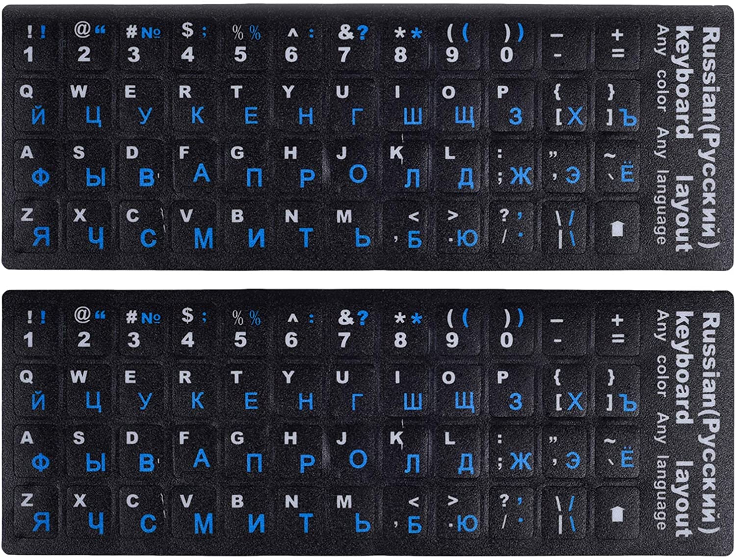 (2PCS Pack) Russian Keyboard Stickers, Keyboard Letters Replacement Stickers Russian Black Background with Blue Lettering for PC Computer Laptop Notebook Desktop Keyboards(Russian-Blue)