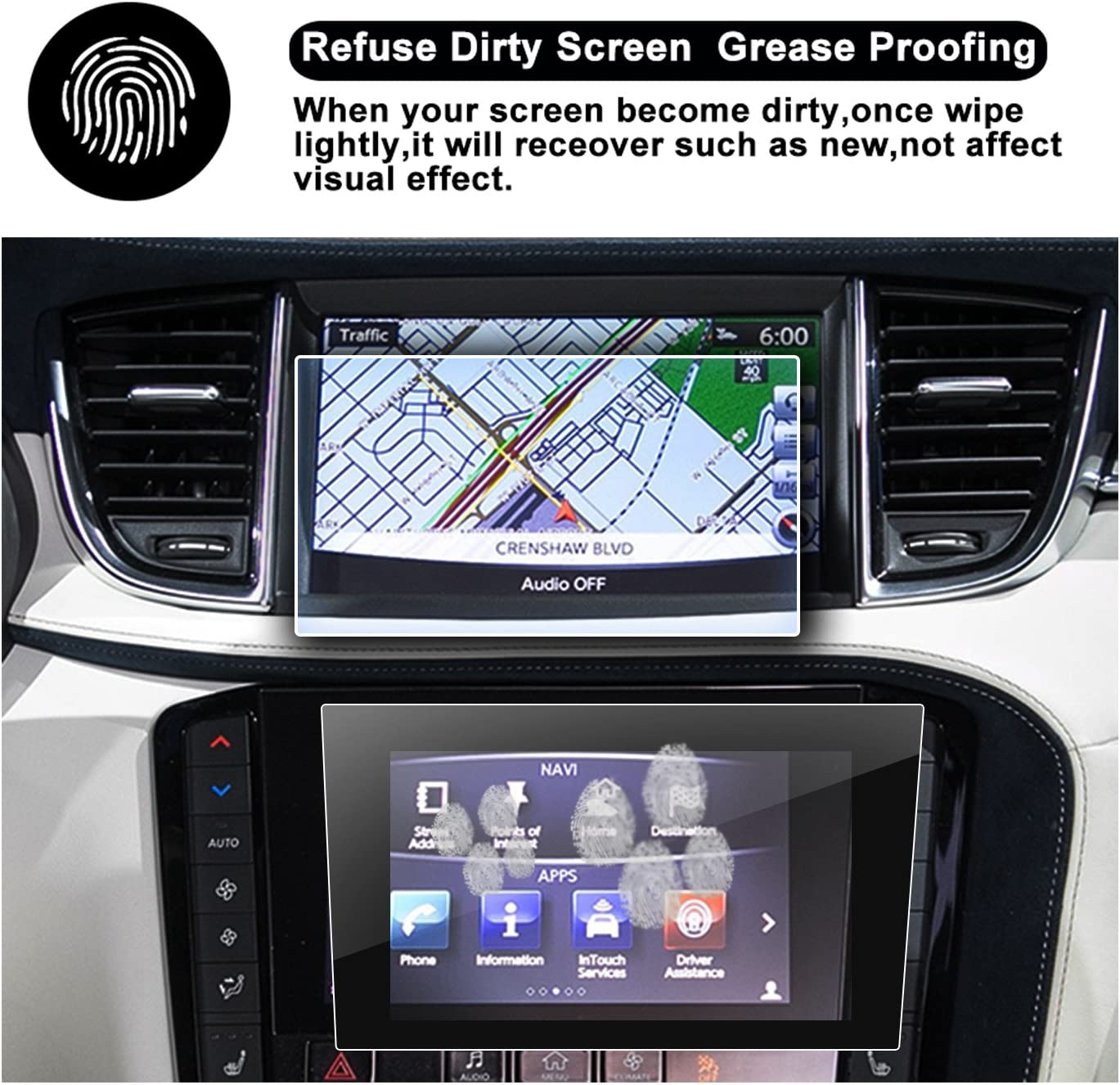 R RUIYA HD Clear TEMPERED GLASS Protective Film Against Scratch High Clarity 2019 2020 QX50 2016 2017 2018 Q60 Q50 Interior Center Stack Touchscreen Car Display Navigation Screen Protector