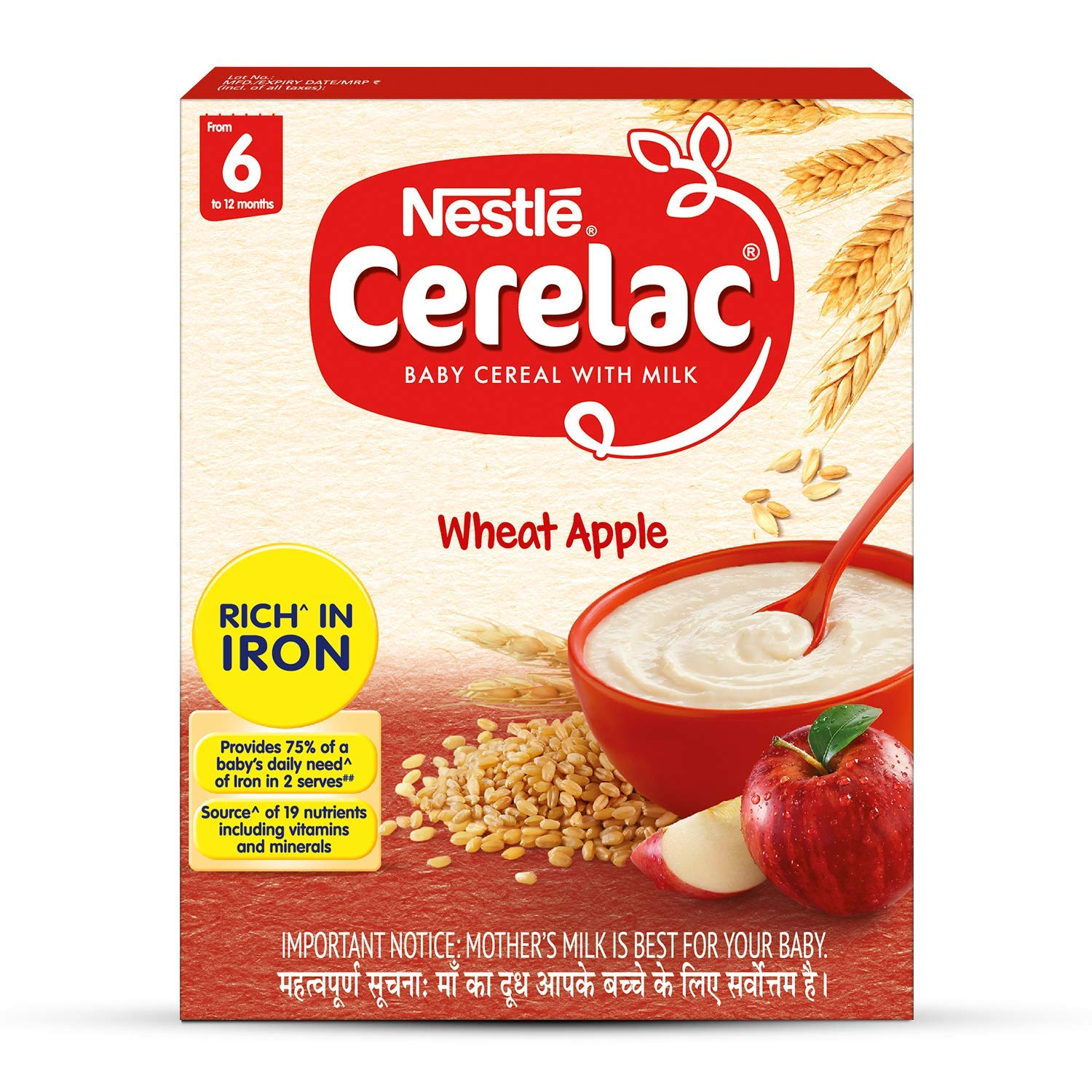 Nestlé Cerelac Infant Cereal Stage-1 (6 Months-24 Months) Wheat Apple 300g