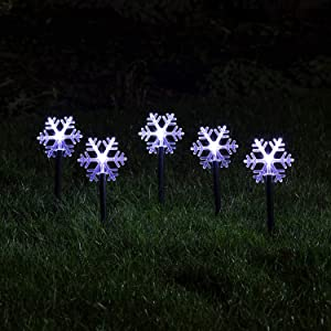 Lights4fun, Inc. Set of 5 Snowflake Battery Operated Cool White LED Outdoor Christmas Landscape Lights with Timer