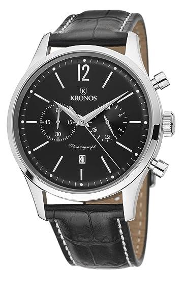 Kronos - Elegance Chronograph Silver 765.55 - Reloj de Caballero de Cuarzo, Correa de Piel